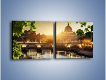 Obraz na płótnie – Bazylika w Rzymie o zachodzie słońca – dwuczęściowy kwadratowy poziomy AM306