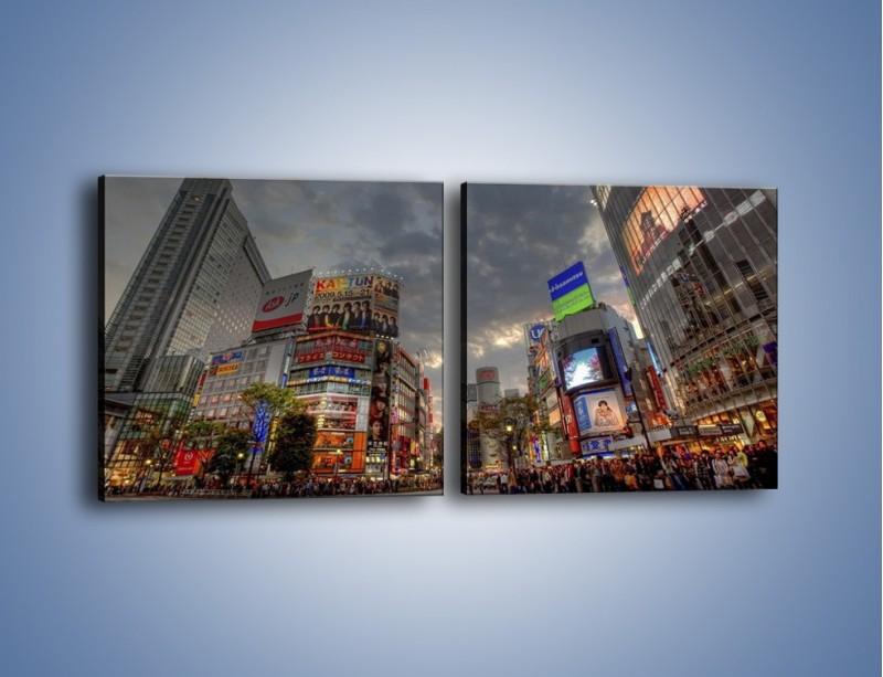 Obraz na płótnie – Uliczny tłok w Tokyo – dwuczęściowy kwadratowy poziomy AM312