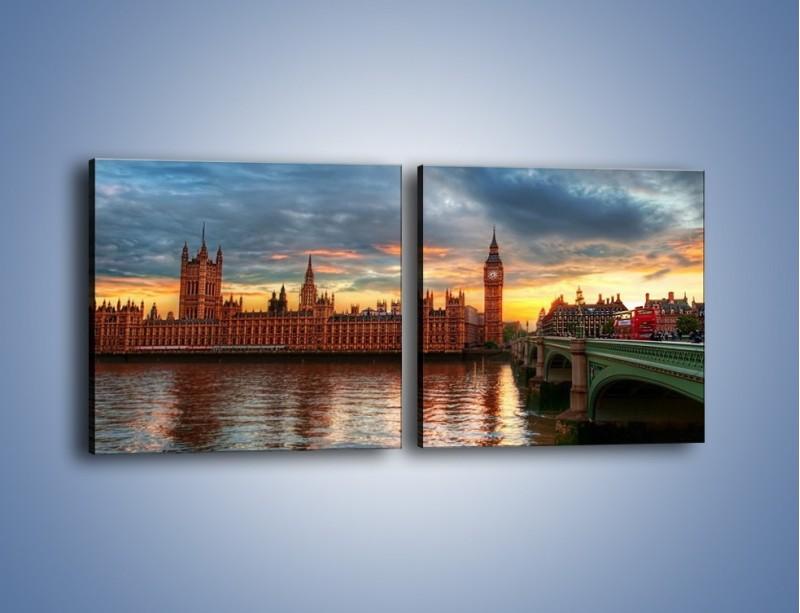 Obraz na płótnie – Pałac Westmnisterski i Big Ben – dwuczęściowy kwadratowy poziomy AM321
