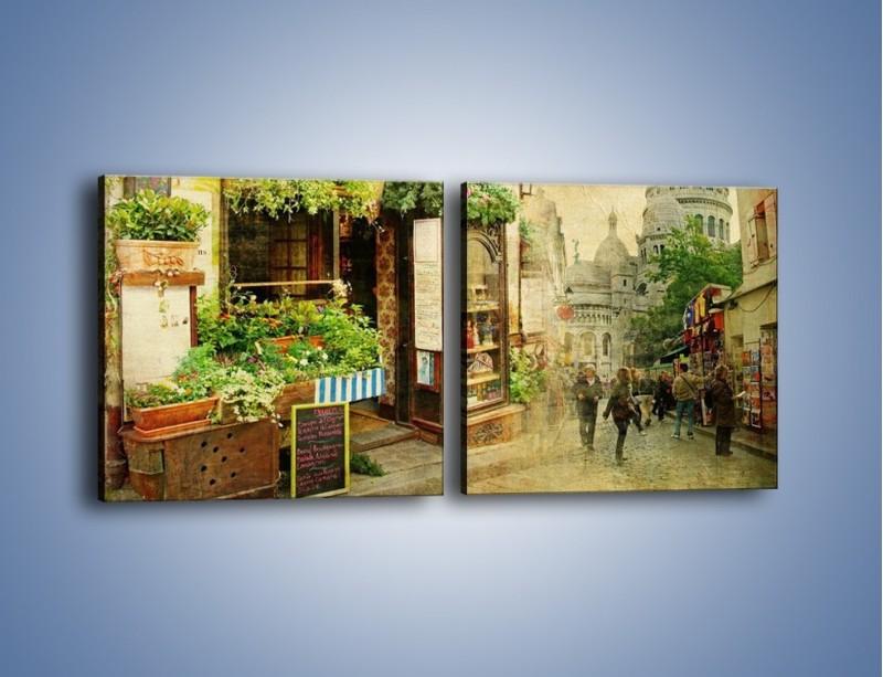 Obraz na płótnie – Paryska dzielnica Montmarte – dwuczęściowy kwadratowy poziomy AM323