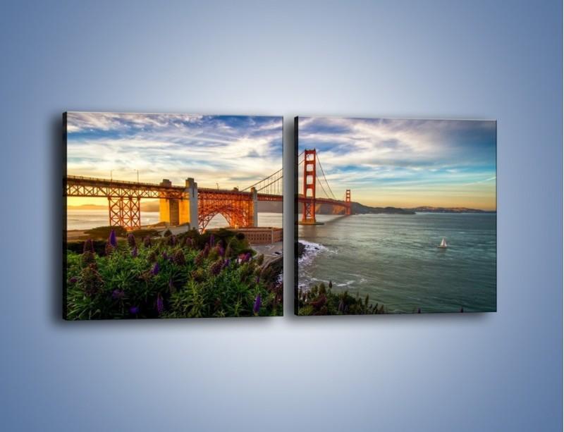 Obraz na płótnie – Most Golden Gate o zachodzie słońca – dwuczęściowy kwadratowy poziomy AM332