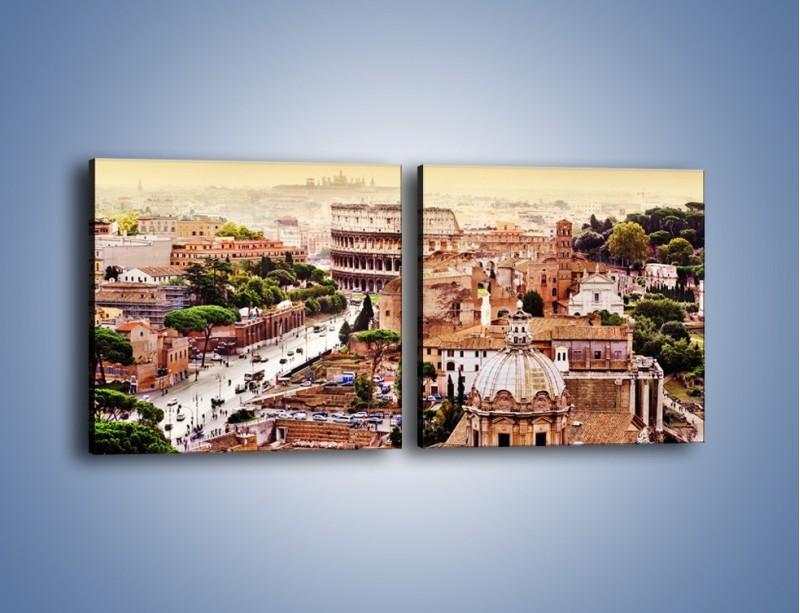 Obraz na płótnie – Panorama Rzymu – dwuczęściowy kwadratowy poziomy AM338