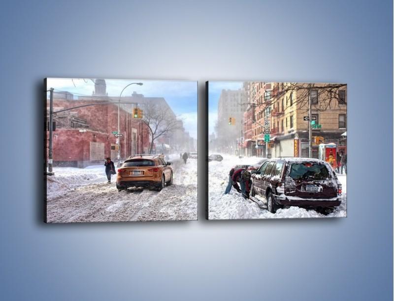 Obraz na płótnie – Zaśnieżone ulice miasta – dwuczęściowy kwadratowy poziomy AM342