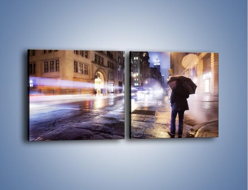 Obraz na płótnie – Deszczowa noc w Nowym Jorku – dwuczęściowy kwadratowy poziomy AM343
