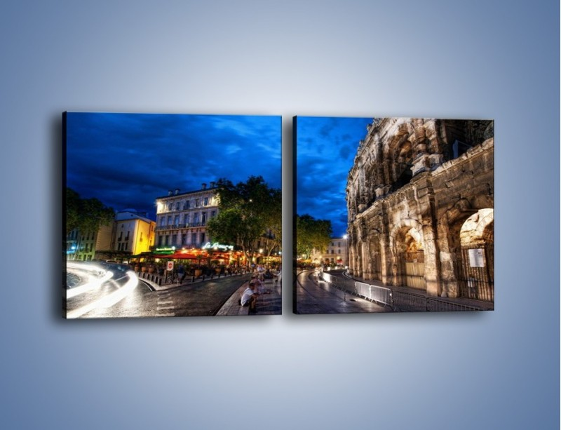 Obraz na płótnie – Nocne życie w Rzymie – dwuczęściowy kwadratowy poziomy AM344