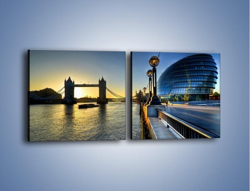 Obraz na płótnie – Londyński Tower Bridge – dwuczęściowy kwadratowy poziomy AM348