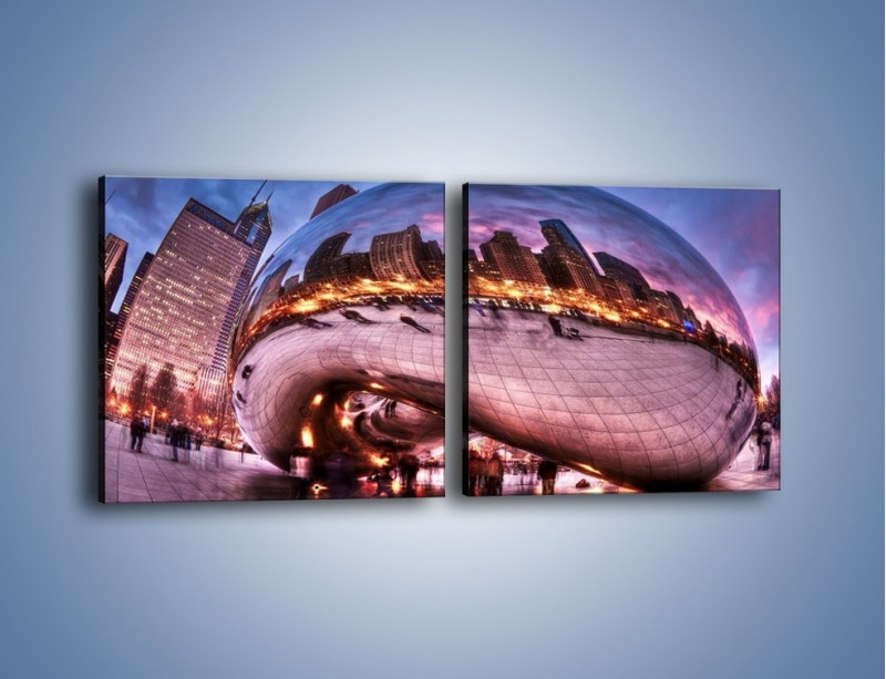 Obraz na płótnie – Cloud Gate w Chicago – dwuczęściowy kwadratowy poziomy AM352