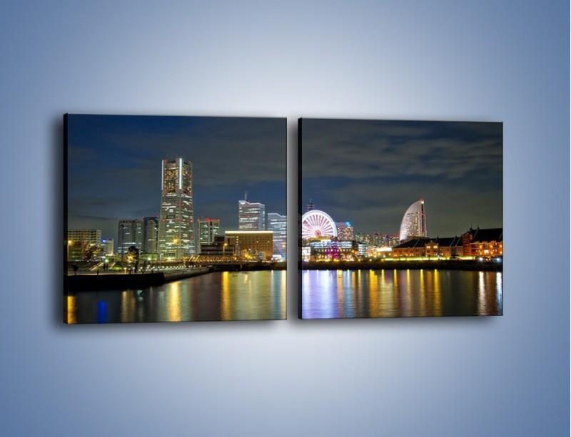 Obraz na płótnie – Yokohama nocą – dwuczęściowy kwadratowy poziomy AM353