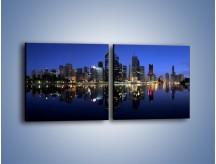 Obraz na płótnie – Brisbane w Australii nocą – dwuczęściowy kwadratowy poziomy AM354