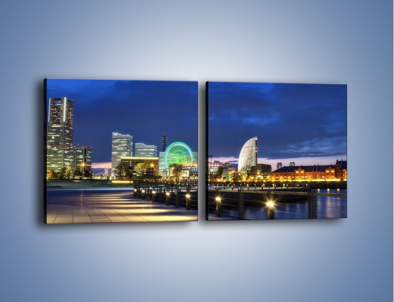 Obraz na płótnie – Rozświetlona Yokohama w nocy – dwuczęściowy kwadratowy poziomy AM355