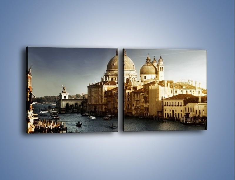Obraz na płótnie – Zapadający zmrok na Wenecją – dwuczęściowy kwadratowy poziomy AM356