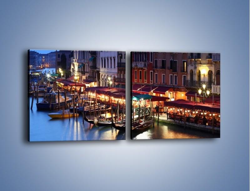 Obraz na płótnie – Wieczorowe życie w Wenecji – dwuczęściowy kwadratowy poziomy AM358