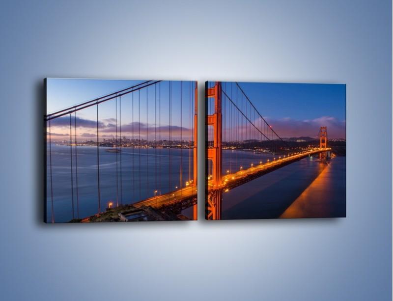 Obraz na płótnie – Rozświetlony most Golden Gate – dwuczęściowy kwadratowy poziomy AM360
