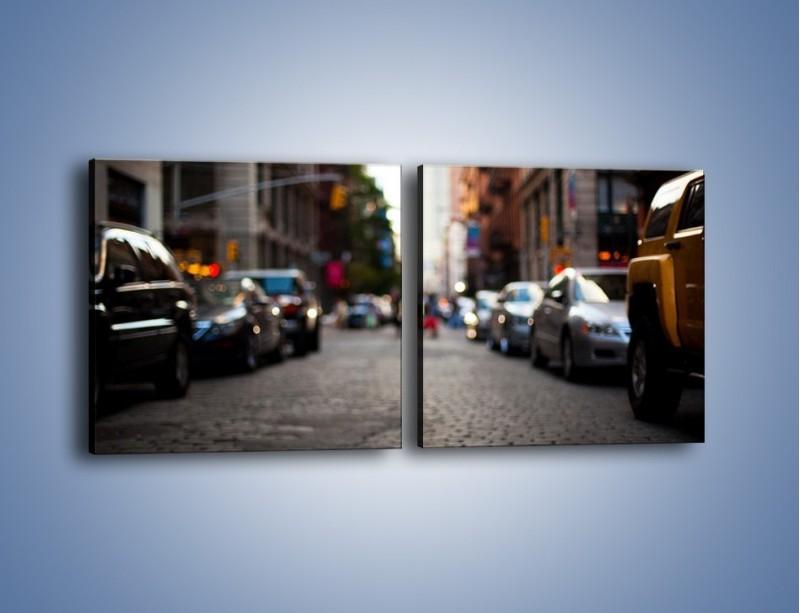 Obraz na płótnie – Rozmyty świat centrum miasta – dwuczęściowy kwadratowy poziomy AM367