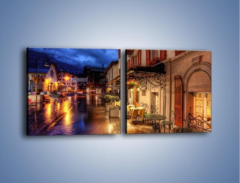 Obraz na płótnie – Romantyczne miasteczko pod Alpami – dwuczęściowy kwadratowy poziomy AM368