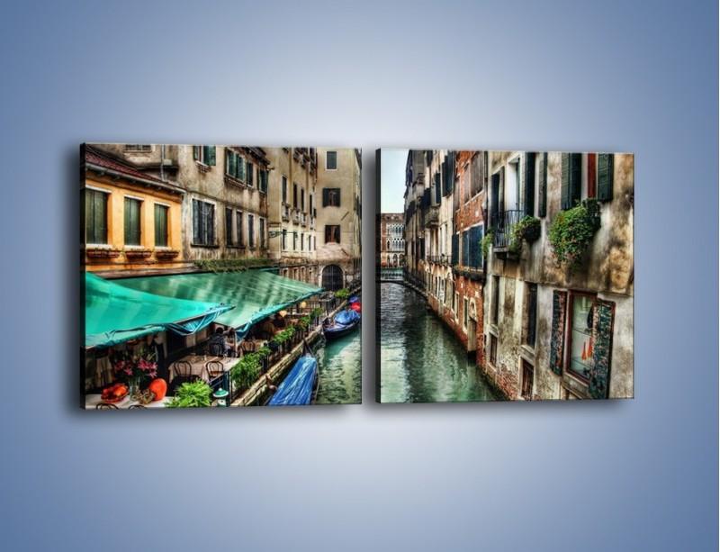 Obraz na płótnie – Wenecka uliczka w kolorach HDR – dwuczęściowy kwadratowy poziomy AM374