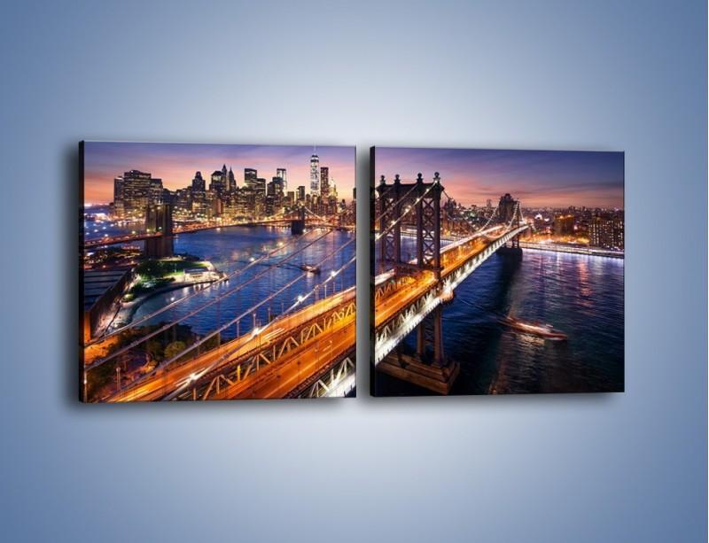 Obraz na płótnie – Zachodzące słońce nad Manhattanem – dwuczęściowy kwadratowy poziomy AM377