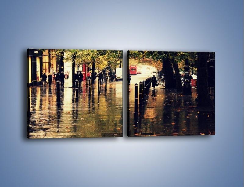 Obraz na płótnie – Deszczowa jesień w Moskwie – dwuczęściowy kwadratowy poziomy AM383