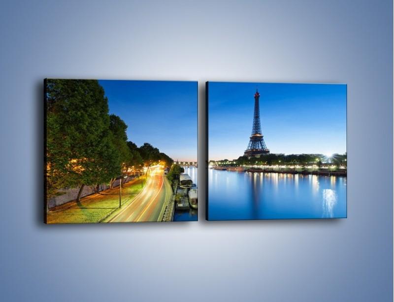 Obraz na płótnie – Zapadający zmrok w Paryżu – dwuczęściowy kwadratowy poziomy AM385