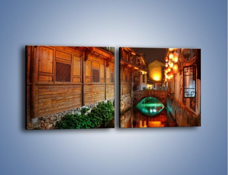 Obraz na płótnie – Kanał w chińskim mieście Lijiang – dwuczęściowy kwadratowy poziomy AM391