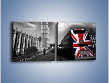 Obraz na płótnie – Big Ben i autobus z flagą UK – dwuczęściowy kwadratowy poziomy AM396