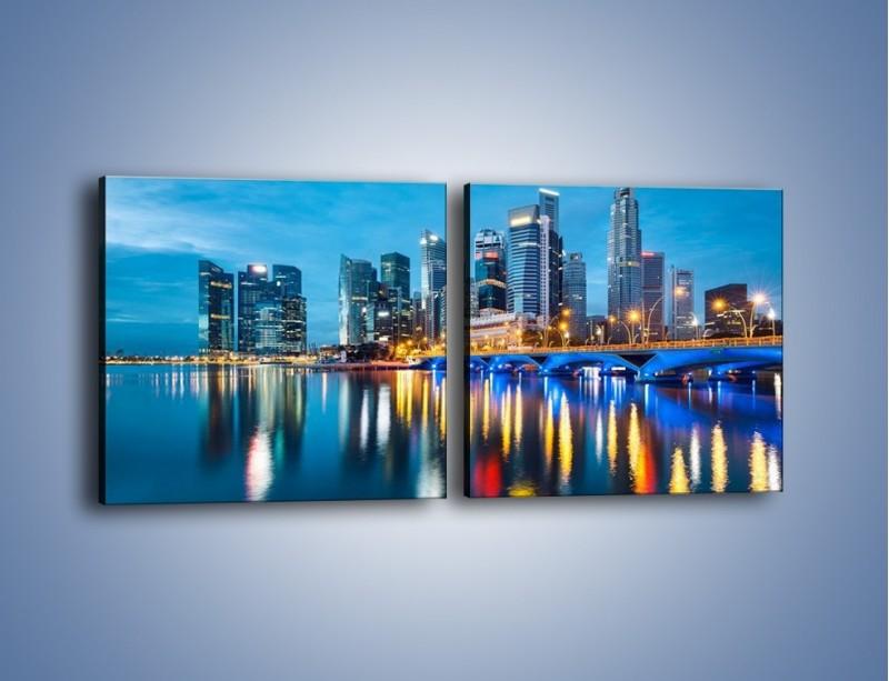 Obraz na płótnie – Kolorowe światła Singapuru – dwuczęściowy kwadratowy poziomy AM408