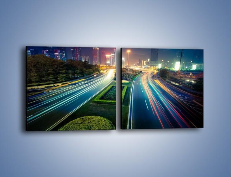 Obraz na płótnie – Uliczne światła Szanghaju – dwuczęściowy kwadratowy poziomy AM409