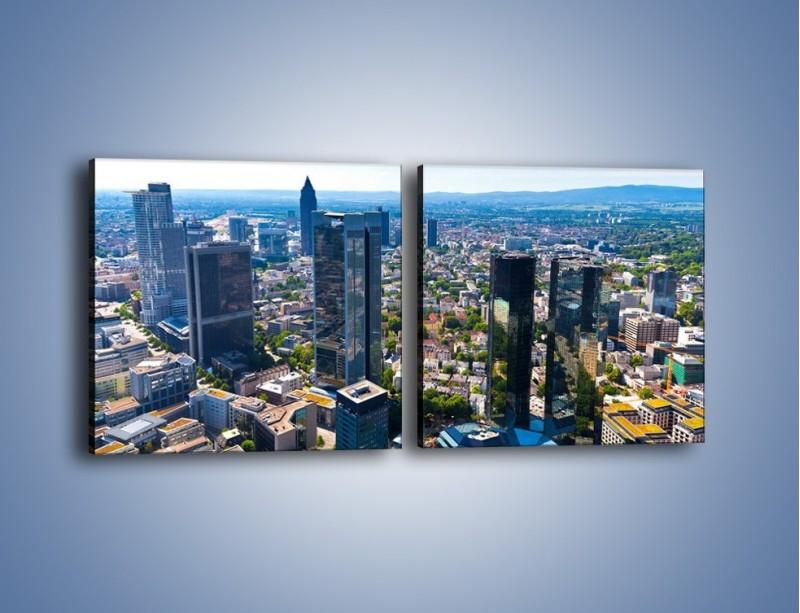 Obraz na płótnie – Panorama Frankfurtu – dwuczęściowy kwadratowy poziomy AM414