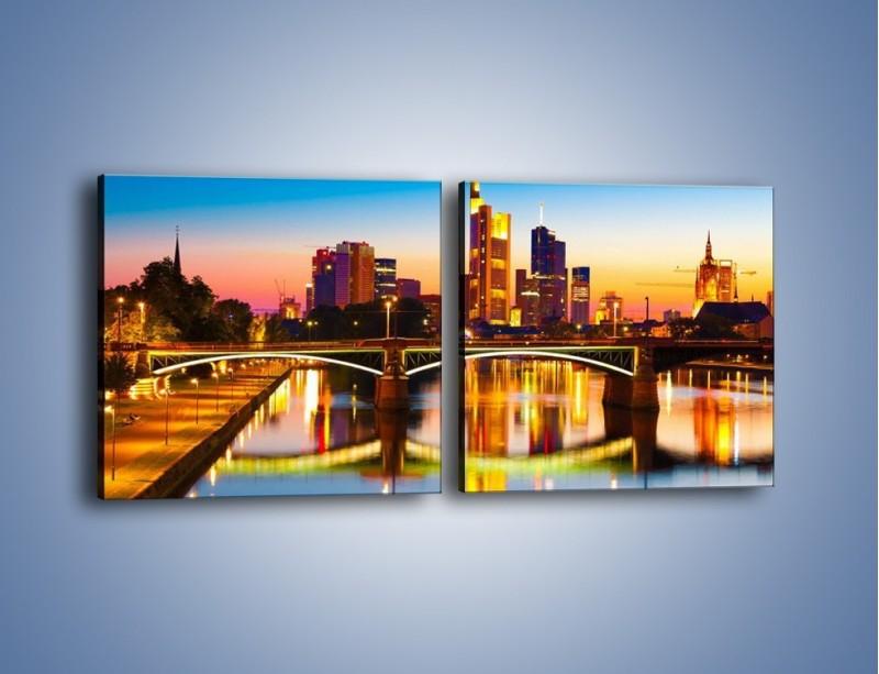 Obraz na płótnie – Oświetlony most we Frankfurcie – dwuczęściowy kwadratowy poziomy AM416