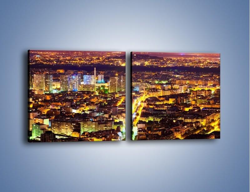 Obraz na płótnie – Kolory Paryża nocą – dwuczęściowy kwadratowy poziomy AM419