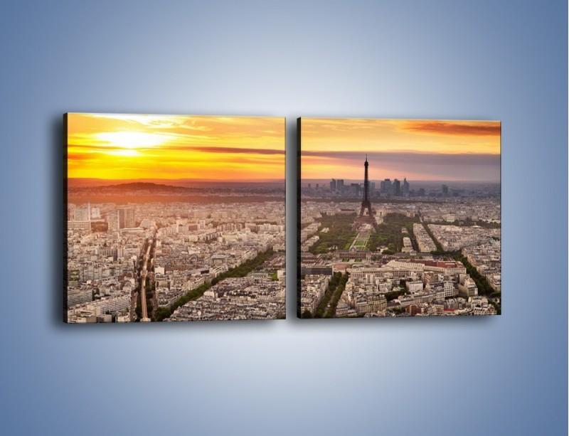 Obraz na płótnie – Zachód słońca nad Paryżem – dwuczęściowy kwadratowy poziomy AM420