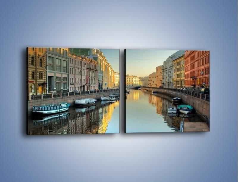 Obraz na płótnie – Kanał wodny w St. Petersburgu – dwuczęściowy kwadratowy poziomy AM422