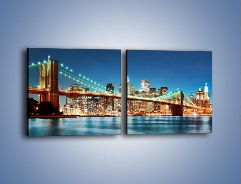 Obraz na płótnie – Most Brookliński na tle Nowego Jorku – dwuczęściowy kwadratowy poziomy AM428