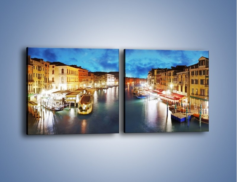 Obraz na płótnie – Światła Wenecji po zmroku – dwuczęściowy kwadratowy poziomy AM430