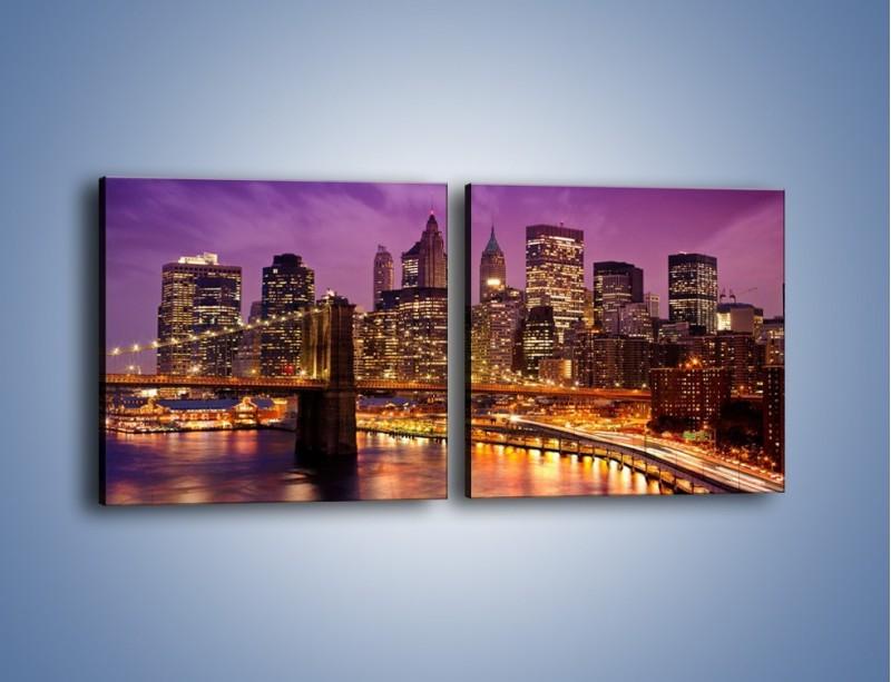 Obraz na płótnie – Nowy York pod fioletowym niebem – dwuczęściowy kwadratowy poziomy AM434