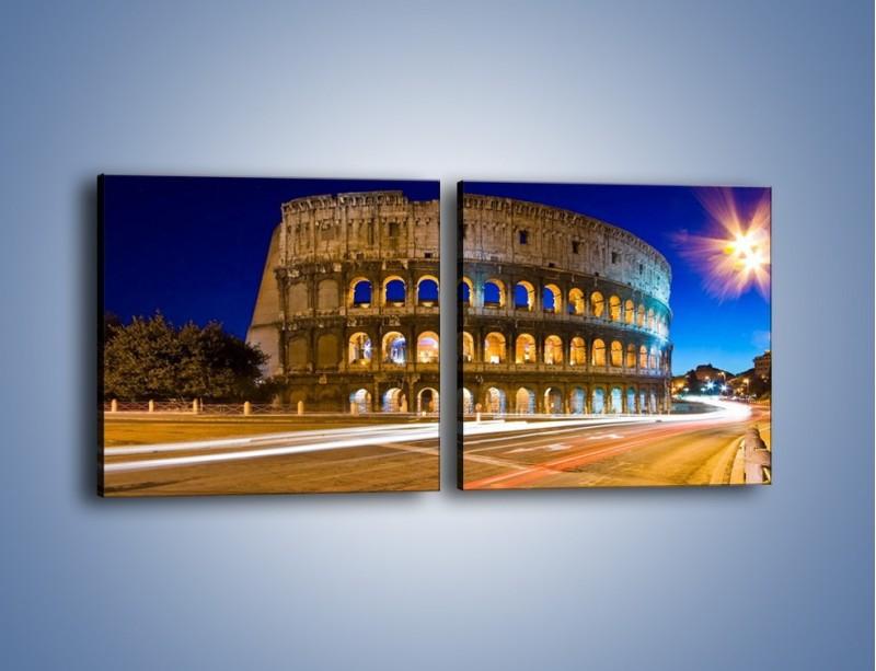 Obraz na płótnie – Koloseum po zmierzchu – dwuczęściowy kwadratowy poziomy AM443