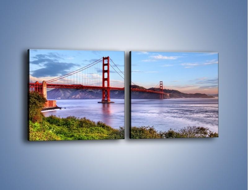 Obraz na płótnie – Most Golden Gate w San Francisco – dwuczęściowy kwadratowy poziomy AM444