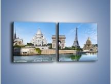 Obraz na płótnie – Atrakcje turystyczne Paryża – dwuczęściowy kwadratowy poziomy AM448