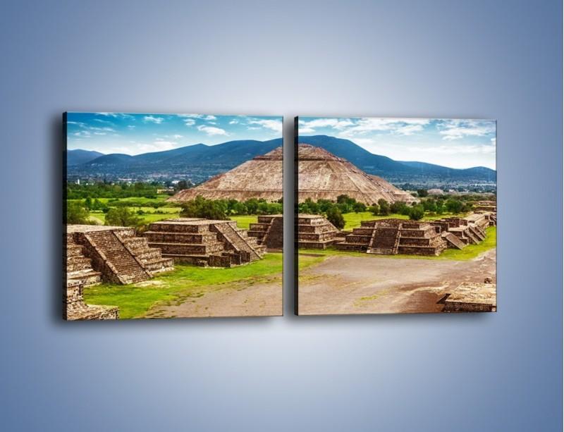 Obraz na płótnie – Piramida Słońca w Meksyku – dwuczęściowy kwadratowy poziomy AM450