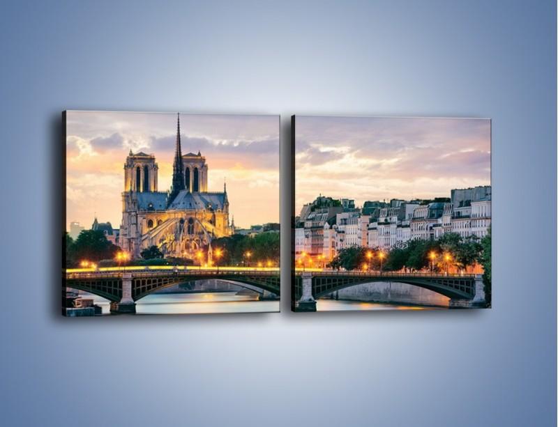 Obraz na płótnie – Katedra Notre Dame – dwuczęściowy kwadratowy poziomy AM454