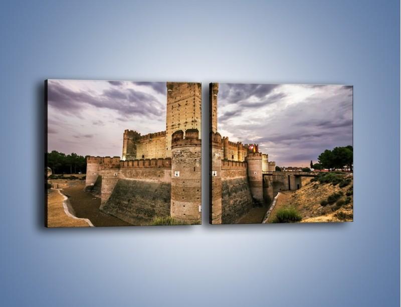Obraz na płótnie – Zamek La Mota w Hiszpanii – dwuczęściowy kwadratowy poziomy AM457