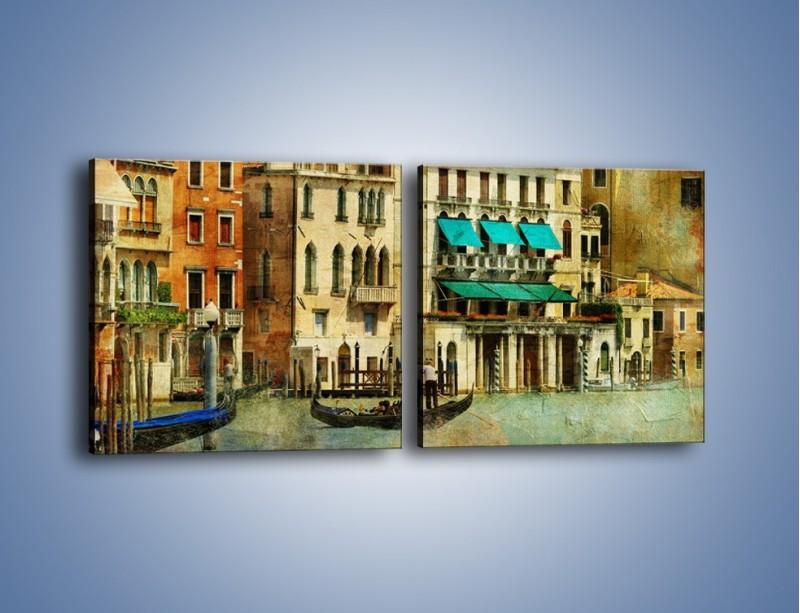 Obraz na płótnie – Weneckie domy w stylu vintage – dwuczęściowy kwadratowy poziomy AM459