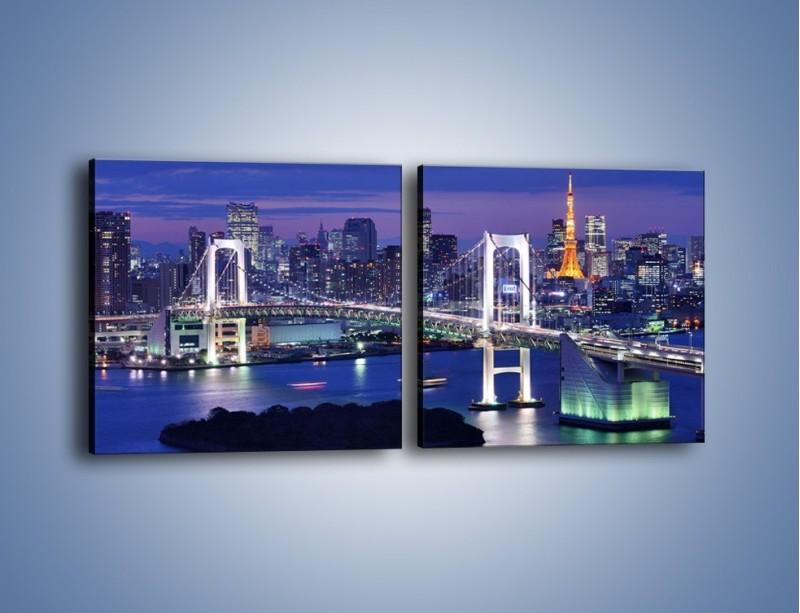 Obraz na płótnie – Tęczowy Most w Tokyo – dwuczęściowy kwadratowy poziomy AM460