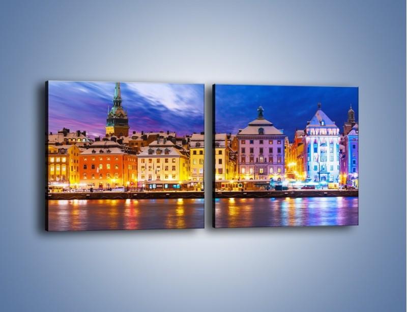 Obraz na płótnie – Sztokholm w zimowej scenerii – dwuczęściowy kwadratowy poziomy AM468
