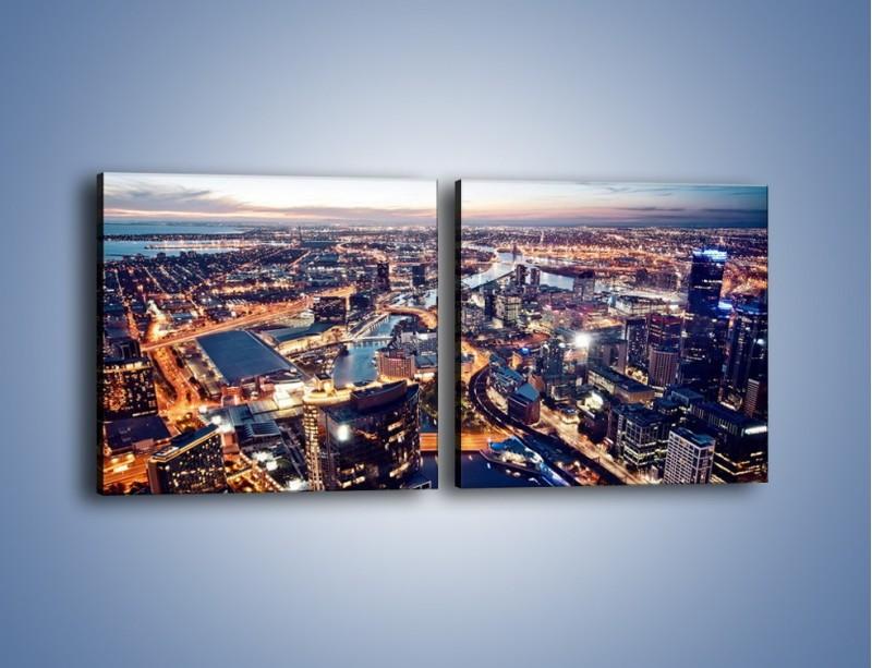 Obraz na płótnie – Panorama Melbourne po zmierzchu – dwuczęściowy kwadratowy poziomy AM470