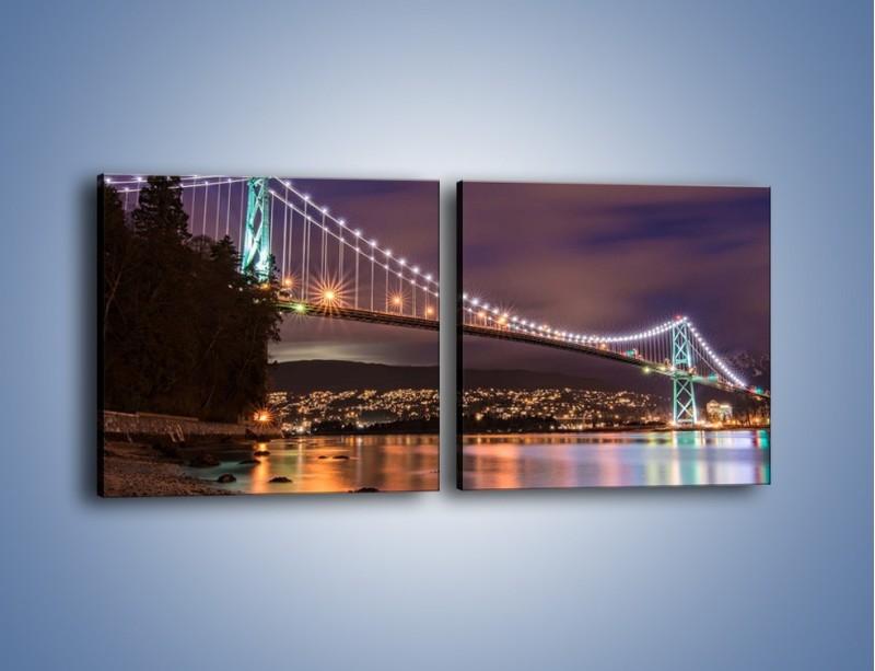Obraz na płótnie – Most Lions Gate w Vancouver nocą – dwuczęściowy kwadratowy poziomy AM472