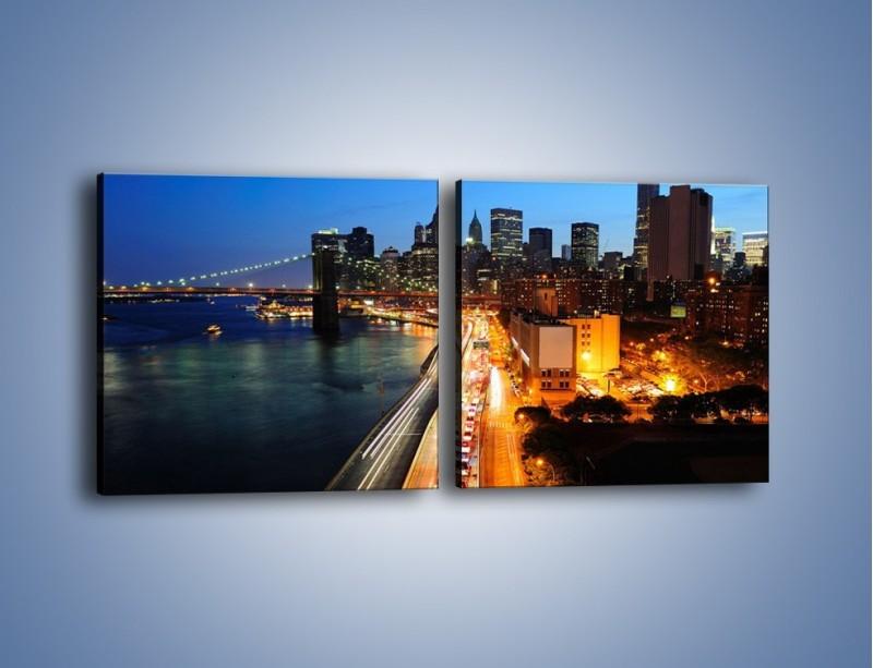 Obraz na płótnie – Manhattan wieczorową porą – dwuczęściowy kwadratowy poziomy AM477