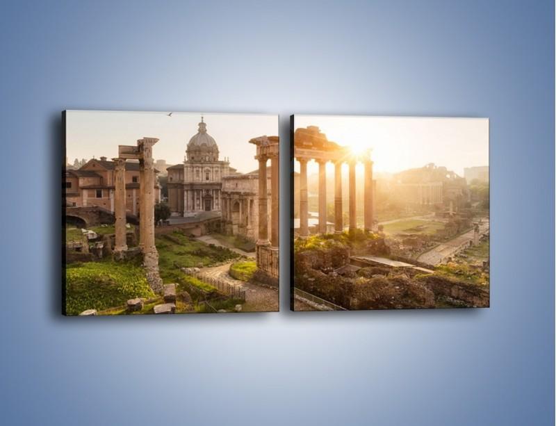 Obraz na płótnie – Rzymskie ruiny o zachodzie słońca – dwuczęściowy kwadratowy poziomy AM480