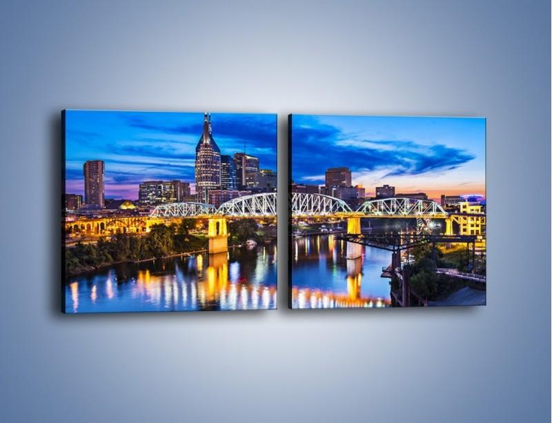 Obraz na płótnie – Most Shelby Street w Nashville – dwuczęściowy kwadratowy poziomy AM489