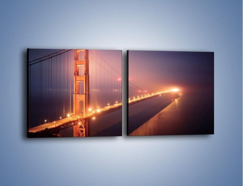 Obraz na płótnie – Most Golden Gate w nocnej mgle – dwuczęściowy kwadratowy poziomy AM490